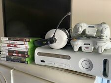 Microsoft Xbox 360 Bundle + 8 Games 2 Controllers 1 Headset Lot Excellent