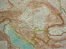 1907 DATED MAP ~ AUSTRIA HUNGARY BOSNIA SERBIA BOHEMIA RUMANIA