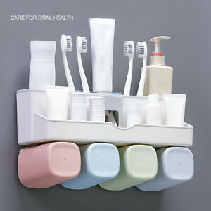 Automatic Toothpaste Dispenser Toothbrush Holder Wall Mount Storage Rack