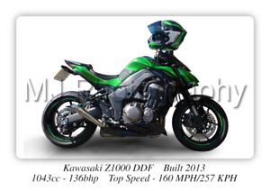 Kawasaki Z1000 Motorcycle Poster - A3 Size Print on Photographic Paper