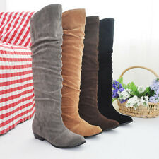 Women Over Knee Boots Block Med Heel Pull On Party Round Toe Comfortable Shoes