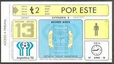 ARGENTINA SOCCER WORLD CUP 1978 USED TICKET # 13 AUSTRIA Vs SWEDEN