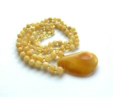 Natural Genuine Baltic Amber round beads pendant stone Jewelry Necklace 18g#1476