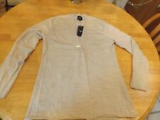 NWT Rare Women Merino Wool Cardigan Top L Colour Works CW color Heather Oatmeal