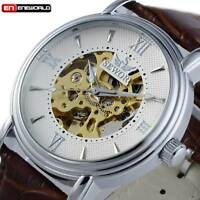 Vintage Steampunk Skeleton Men Automatic Mechanical Wrist Watch Brown Leather
