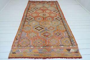 """Vintage Antalya Nomads Kilim Rug, Area Rug, Orange Color, Wool Carpet 59""""X116"""""""
