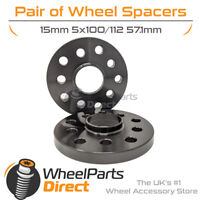 Wheel Spacers (2) Black 5x100/112 57.1 15mm for Seat Exeo 08-13