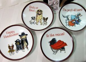 4x Pier 1 Appetizer Dessert Plates Puppy Dogs in Halloween Costumes Porcelain 6""