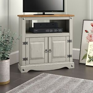 Corona Grey Corner TV Unit Stand - Mexican Solid Pine Wax