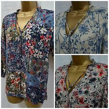NEW M&S TOP KAFTAN TUNIC BLOUSE PINK GREY RED BLUE CREAM FLORAL RUFFLE 6 - 24