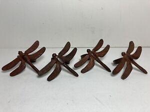 Set of 4 Burnished Metal Dragonfly Napkin Holders Tableware