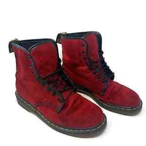 Dr. Martens Womens Velvet Combat Boots Size 8 Red Burgundy Air Wair Doc