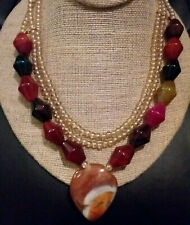 OLD STONES CARNELIAN AGATE AMBER BEAD NECKLACE, 98 GRAMS