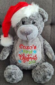 Personalised Embroidered Christmas Bear Santa Bear Gift