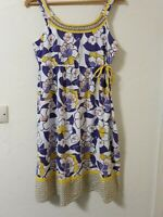 Mantaray Retro Floral Lined Cotton Summer Dress Size 10