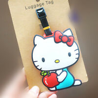 Cute HelloKitty Silicone Luggage Tags ID Card Holder Case Pink AA-C56