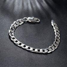 925 Silber 8MM Armband Armkette Panzerkette Massiv Herren Männer Schmuck Neu