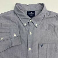 American Eagle Outfitters Button Up Shirt Mens 2XL XXL Long Sleeve Gray Slim Fit