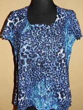 Women's Christopher & Banks S/S Blue & Black Leopard Print TOP Excellent Medium