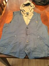 Guess Hoodie Vest Size L Gray Blue Mens Layered Look Button Zipper