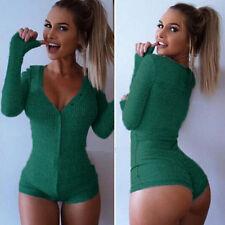 Womens V Neck Knitted Bodysuit Long Sleeve Romper Lingerie Jumpsuit Leotard Tops