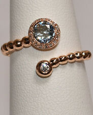 Round Aquamarine and Diamond Open Top Ring in 18K Rose Gold