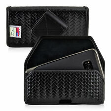 Galaxy S8 Police Pouch Rotating Belt Clip Case Basketweave Leather Turtleback
