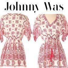JOHNNY WAS Women's White/Red/Pink Silk Tunic Top w/ Tassel Detail Size Medium