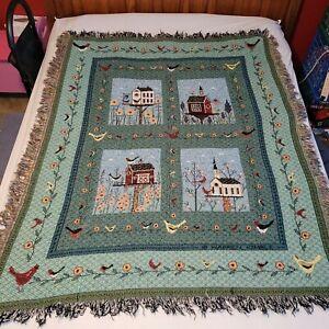 "Bird House Tapestry Throw Blanket 55"" X 45"" Farm House Chic"