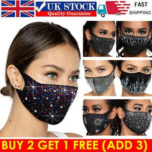NEW Bling Face Mask Crystal Rhinestone Glitter Diamante Sparkle Reusable Cover #