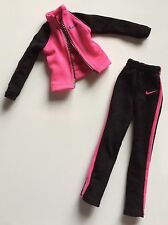 Barbie Doll Clothes BLACK AND PINK NIKE WARM UP OUTFIT Sweat Suit Jacket Pants