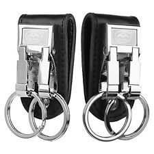 Mens Leather Belt Buckle Clip Key Ring Holder 2 Loops Keychain Business Precious