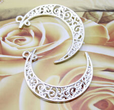 out moon Bright silver Charm pendant 15 pcs Retro Style Very beautiful Hollow