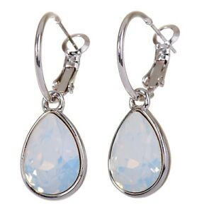 Crystals From Swarovski White Opal Teardrop Earrings Rhodium Authentic 7258a