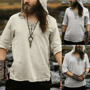 Medieval Renaissance Pirate Viking Men Hooded Tunic Tops Shirts Cosplay Costume
