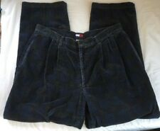 Vtg Tommy Hilfiger Men's Corduroys Pants Blue Shadow Plaid Pleated 38 X 31 38x31