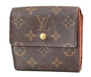 Auth LOUIS VUITTON Elise Double Snap Monogram Bifold Wallet Coin Purse #2810A