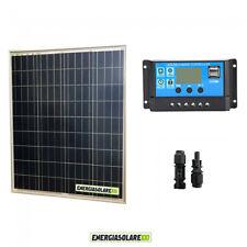 Kit Solare Fotovoltaico pannello 80W 12V Regolatore PWM 10A Camper Nautica Illum