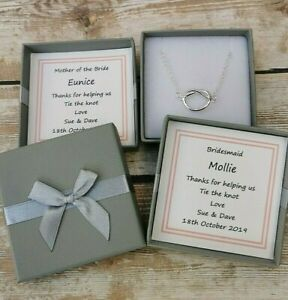 PERSONALISED BRIDESMAID GIFT THANK YOU FOR HELPING US TIE THE KNOT NECKLACE BOX>