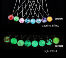 1x Glow In The Dark Moon Necklace Galaxy Planet Glass Cabochon Pendant Necklace