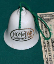 Christmas 1983 Hallmark Cards Mom & Dad Floral Ceramic Xmas Tree Bell Ornament