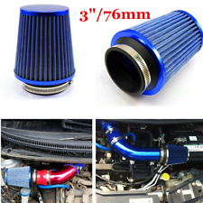 "3"" Inlet High Performance High Flow Air Intake Replacement Kit Cone Filter Blue"