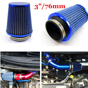 """3"""" Inlet High Performance High Flow Air Intake Replacement Kit Cone Filter Blue"""