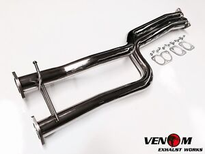 """VENOM exhaust Ford BA BF Stainless twin 2.5"""" Ute straight muffler delete pipes"""
