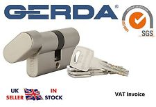 Gerda High Quality Euro Profile Cylinder Door Lock Barrel 5 Keys EVO Thumb Turn a 50 Mm B 40 Mm Nickel
