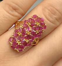 14k Solid Yellow Gold Cluster Rectangle Ring Natural Ruby 4TCW, Sz 7.