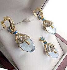 GORGEOUS ENAMEL PENDANT & EARRINGS SET STERLING SILVER 925 & 24K GOLD BLUE TOPAZ