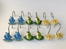 12 Frogs n Lily Pad Flower Shower Curtain Hooks Novelty Blue Green Yellow