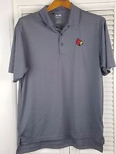 Men's Adidas Small Polo Shirt Louisville Cardinals UofL Gray Short Sleeve ACC