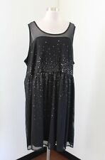 Lane Bryant Black Sequin Mesh Overlay Illusion Cocktail Party Dress Size 28